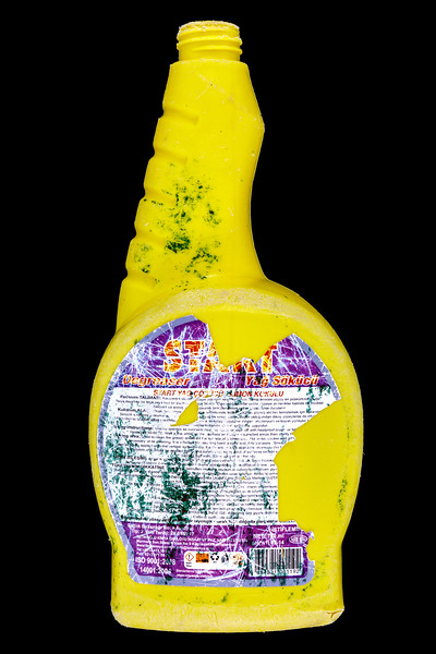 A plastic spray bottle of Turkish origin collected by Janet Unitt on Guernsey's west coast and supplied for photography