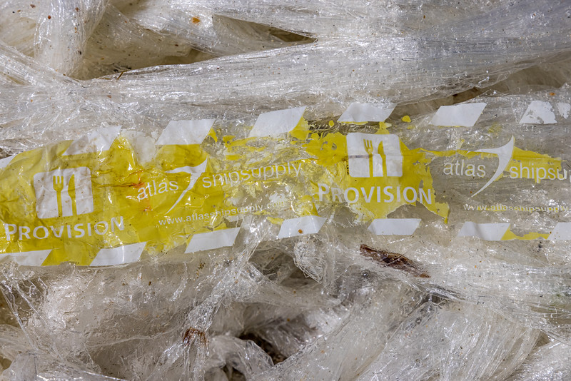 Plastic wrap with the words 'Provision' and Atlas shipsupply.com washed up at Petit Port on the 21st May 2021