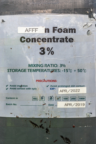 Label from AFFF container (firefighting foam) found by Wayne Branquet at L'Eree on Guernsey west coast on 8th October 2020
