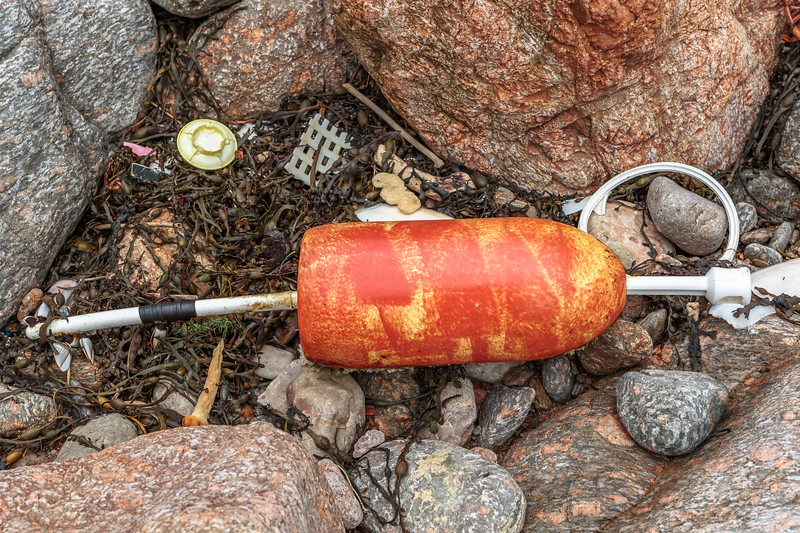 North American pot marker washed up at Petit Port on Guernsey's south coast on 6th February 2016