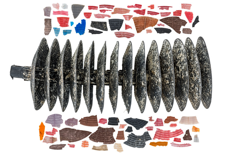 Oyster spat collectors from the oyster culture industry in France washed up at Petit Port on Guernsey's south coast
