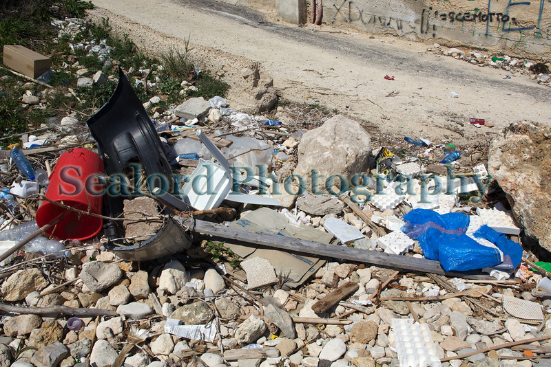Even though the City of Avola and the City of Siracusa has a kerbside collection service for recycling, there is a problem with fly tipping in south-eastern Sicily.  The litter in this image was at the top of a beach by the city of Avola.<br /> File No. 020410 1387<br /> ©RLLord<br /> fishinfo@guernsey.net