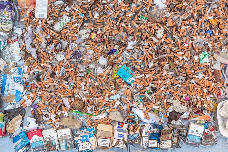 Cigarette smoker's litter collected from Park Lane steps and Trinity Square, St Peter Port on 5th May 2013