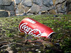 Aluminium Coca Cola can floating in the QE II marina, St Peter Port, Guernsey on 2nd June 2007