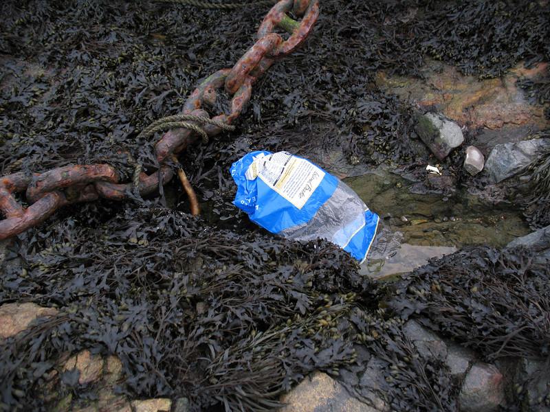Island Bake plastic bag lying on the Belle Greve Bay sea shore on 22nd February 2008