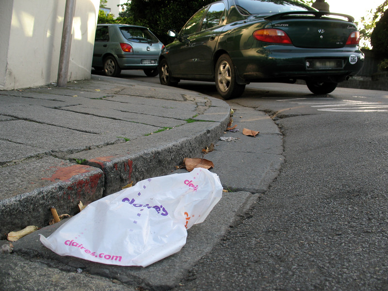 Plastic bag lying on the street in St Peter Port, Guernsey on 13th July 2007
