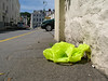 The Marks & Spencer franchise in Guernsey has recently introduced bright lime green plastic carrier bags which stand out in the environment.  This one was lying on the pavement on Hauteville on the 13 July 2007.<br /> File No. 130707 8936<br /> ©RLLord<br /> fishinfo@guernsey.net