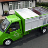 Wecycle's kerbside collection lorry in St Peter Port, Guernsey with six compartments for collecting household recyclable material.  Wecycle collects paper and cardboard, plastic 1 (PET or PETE) and plastic 2 (HDPE or PE), tins and cans, and juice and milk cartons (Tetra or Elo-paks) and glass bottles.<br /> File No. 040810 79<br /> ©RLLord<br /> sustainableguernsey@gmail.com