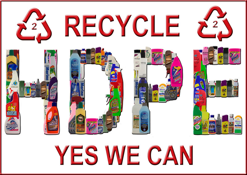 A1 sized poster of HDPE plastic no. 2 containers that can be recycled in Guernsey by depositing these plastic containers at bring banks located around the island.<br />  ©RLLord