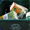 This image shows some of the food and drink containers that can be recycled in the green bin in the City of Nyack in Rockland County, New York.<br /> <br /> File name: Nyack recycling bin 250807 115 smg<br /> fishinfo@guernsey.net