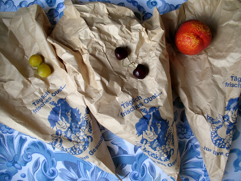 Fresh fruit from Germany packaged and sold in brown paper.  This packaging makes a refreshing contrast to the excessive plastic packaging used by some British supermarkets.