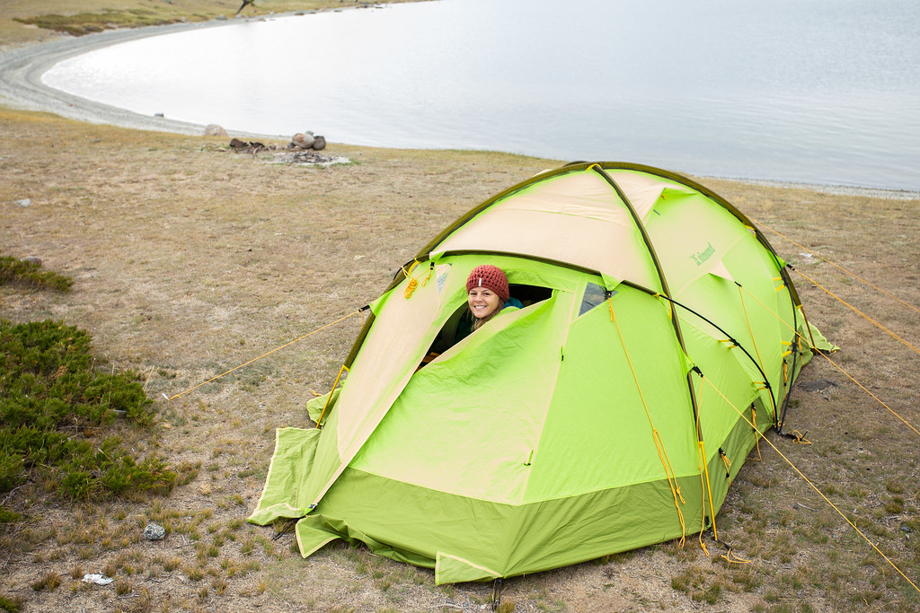Caitlin Murray, the founder of Purposeful Nomad, in a tent in Mongolia