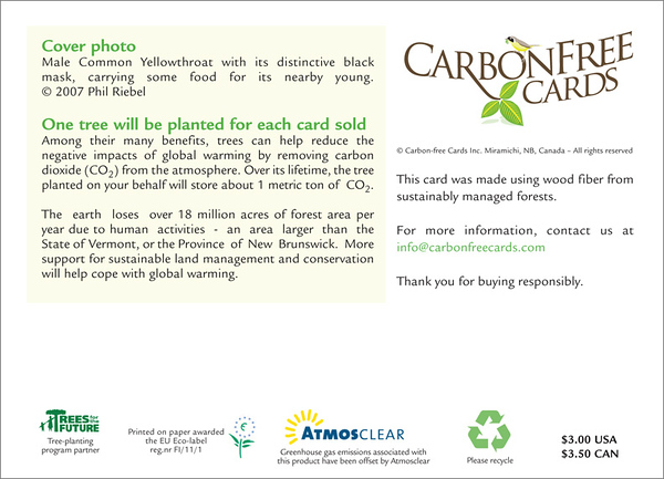 Common Yellowthroat (back of card)