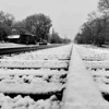 Looking down the railroad tracks in Old Town Suwanee in the Winter of 2009.  Black and White version.