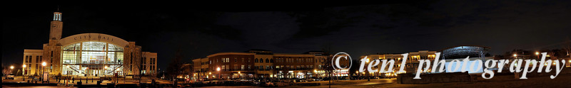Panorama of Suwanee Town Center at night.