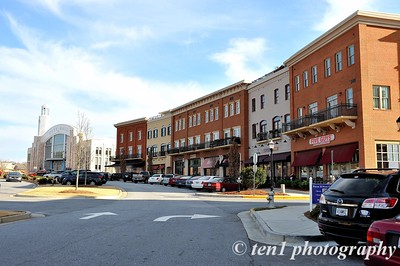 Part of Suwanee Town Center with the new City Hall in the background.