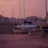 the work yard at sunset