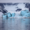 Blue iceberg breaking up in Hornsund