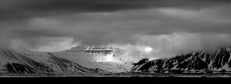 Svalbard scenery in monochrome