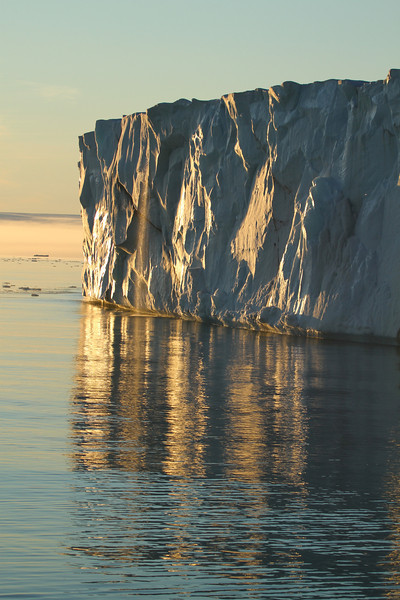 The ice front of Brasvelbreen as the sun set