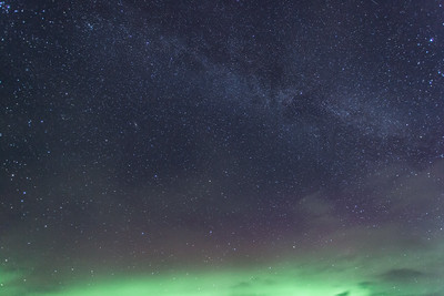 sky and stars and aurora glow