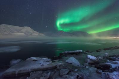 aurora borealis frozen landscape