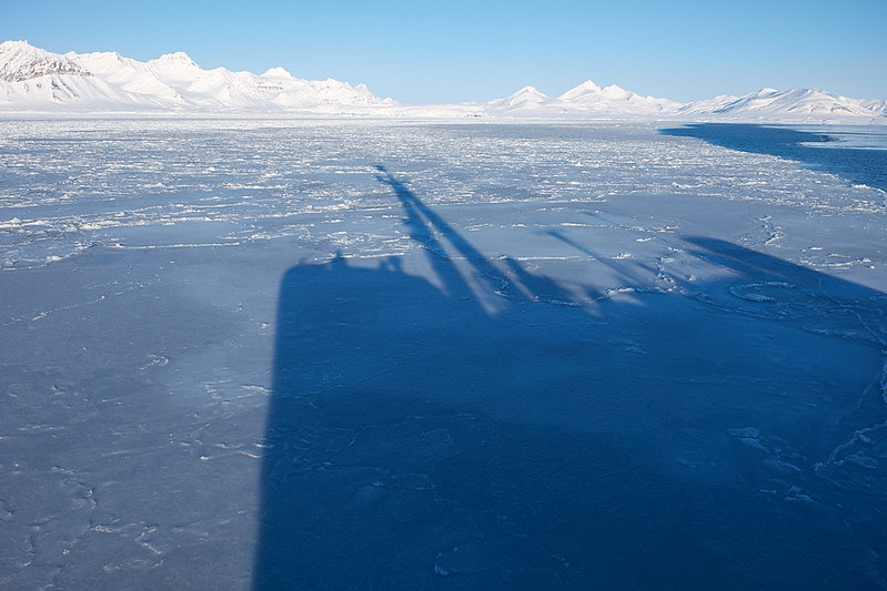 31.) Origo moving into the ice. I am the small shadow on the bow
