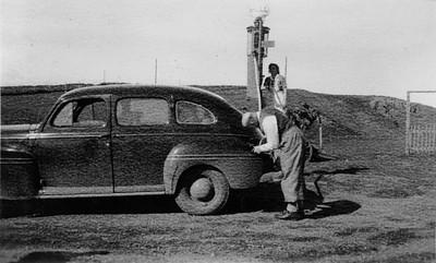 Á bensíndælunni