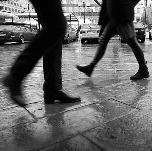 Feet on wet ground