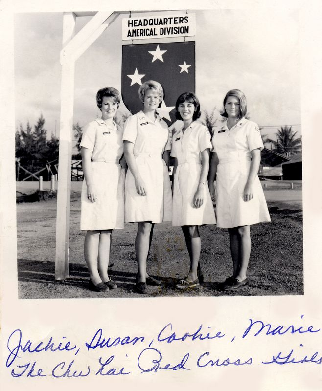 "LCS: This was an ""official"" press release photo of some of the Red Cross Girls assigned to the Chu Lai area in 1967."