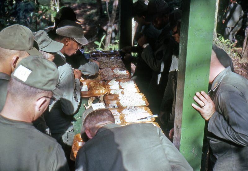 "LCS-23: One part of Jungle School was like eating the ""mystery meat"" we got in Vietnam.  You went down one side of the table and tasted an item from each plate.  When you went down the other side of that table you could read the cards that listed what you had just consumed (rat, snake, crow, etc.)"