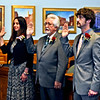 Lowell School Committee members being sworn In, L-R, Hilary M. Clark, Andre P. Descoteaux and Michael Dillon, Jr. SUN/ David H. Brow