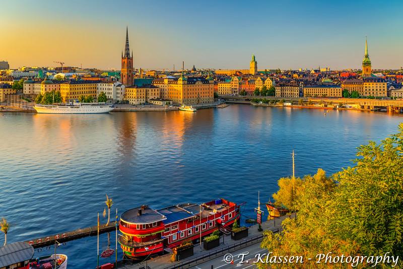 The city skyline at sunset in Stockholm, Sweden.