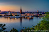 The city skyline at sunset in Stockholm, Sweden.