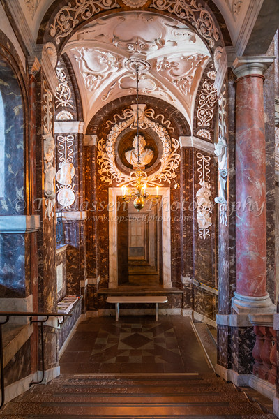 Interior architecture of the Drottningholm Palace near Stockholm, Sweden.