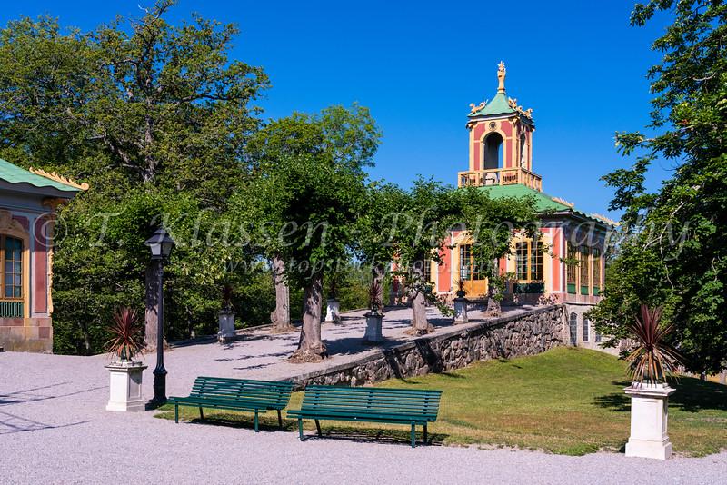 The Chinese Pavilon buildings at Drottningholm Palace near Stockholm, Sweden.