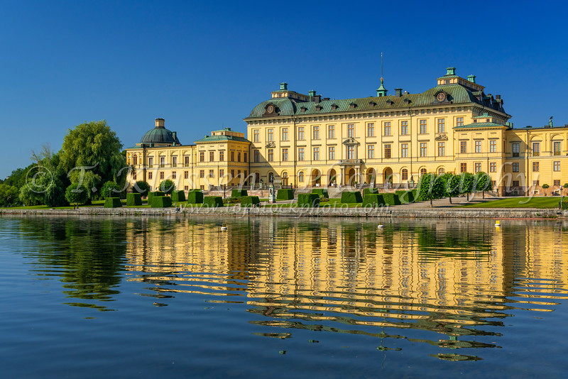 Reflections of Drottningholm Palace in a lake near Stockholm, Sweden.