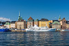 Colorful buildings line the waterfront in Gamla Stan, Stockholm, Sweden.