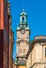 The Great Church or Church of St. Nicholas, Storkyrkan Clock Tower in Gamla Stan, Stockholm, Sweden.