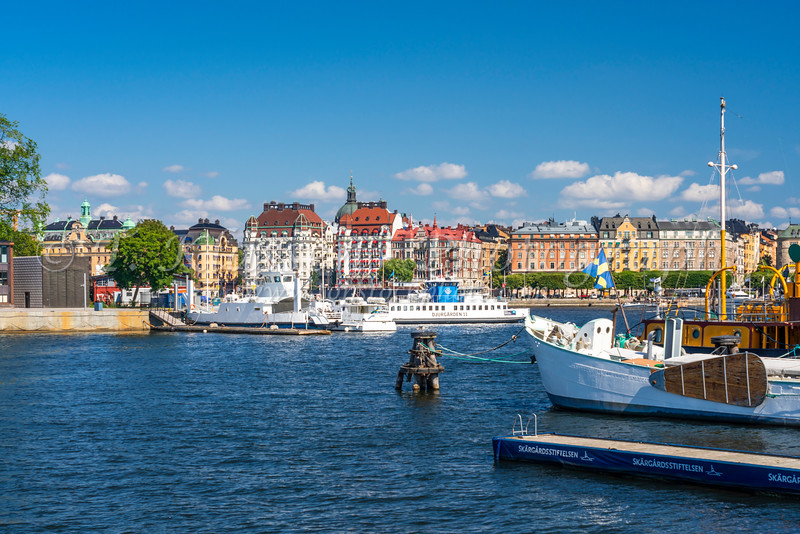 A view of the harbor of Stockholm, Sweden.