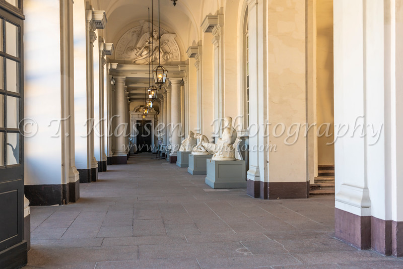 A long hallway at the Royal Palace and Museum in Stockholm, Sweden.