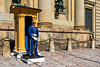 A guard and guard house at the Royal Palace and Museum in Stockholm, Sweden.