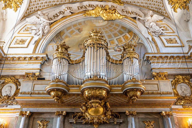 The Pipe Organ in the Chapel at the Royal Palace in Stockholm, Sweden.
