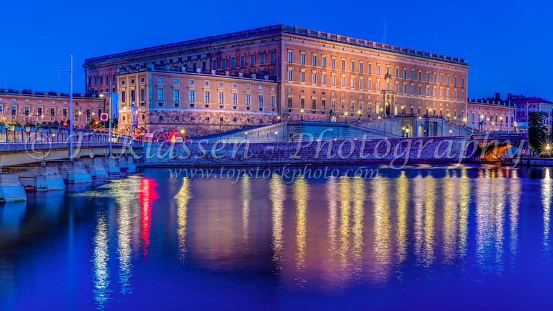 An evening view of  the Royal Palace and Museum in Stockholm, Sweden.