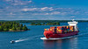 A container ship in the waterway near Stockholm, Sweden.