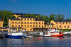 A view of the Stockholm harbor near the Nybrokajen Terminal, Stockholm, Sweden.