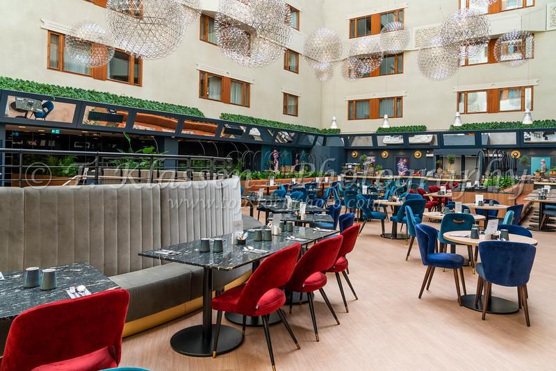 The restaurant of the Radisson Blu Hotel in Stockholm, Sweden.
