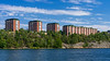 Apartment residences along the waterway near the port             of Frihamnen, Stockholm, Sweden