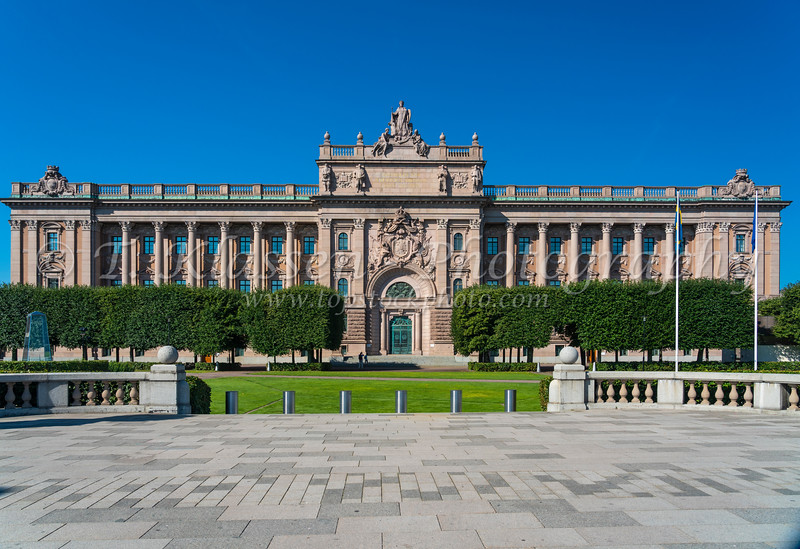 The Parliament House building in Stockholm, Sweden.