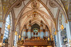 The pipe organ of the Church of Saint Clare or Klara Church in downtown Stockholm, Sweden.